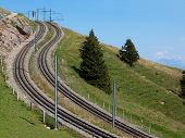 Two Curved And Steep Railways In The Mountains