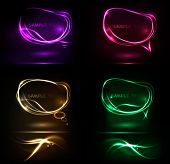 Set of abstract neon speech bubble banners. Vector.