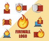 Set Of Firewall Logo. Protection Logo.cyber Security Emblem. Network Protection. Internet Project. L poster