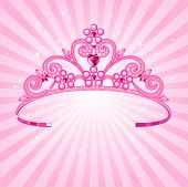 stock photo of princess crown  - Beautiful shining  princess crown on radial background - JPG