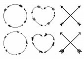 Circle And Heart Arrow Frames. Circle And Heart Monograms. Criss Cross Hipster Arrows. Arrows In Boh poster