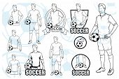 Set Of Football Players With Balls. Soccer Player With A Ball. Soccer Logo. Soccer Game. poster