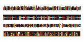Vertically Seamless Book Shelves Border Design Elements Set. Vector Illustration Bookshelves Divider poster