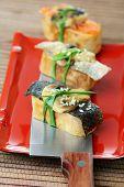 Tamago Yaki With Mushrooms And Salmon Skin.