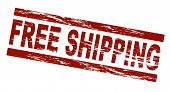 picture of ship  - Stylized red stamp showing the term free shipping - JPG