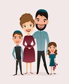 Happy Jewish Family Couple With Children Isolated Illustration. Husband, Wife, Daughter And Son Cart poster