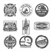 Surfing Camp Vintage Isolated Label Set Illustration. Kitesurfing School Symbol. Wild Wave Icon. Sur poster
