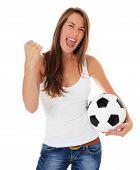 Cheering woman