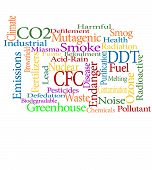 pic of noise pollution  - pollution and greenhouse effect related word cloud - JPG