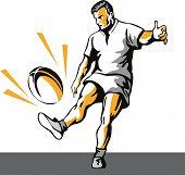 Rugbyspeler schoppen de bal