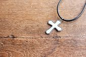 Christian Cross On Wooden Table With Window Light, Christian Concept Jesus Is The Light Of The World poster