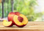 Fresh Sweet Peach Peaches Green Red Yellow poster