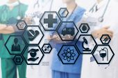 Medical Healthcare Concept - Doctors In Hospital With Medical Icons Modern Interface Showing Symbol  poster