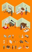 Interior Museum Exhibits Galleries And Elements Part Isometric View Culture Industry Concept With Vi poster