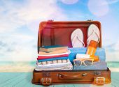 Retro Case Suitcase Leisure Objects Nobody Illustration poster