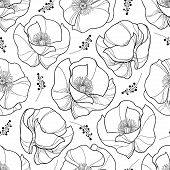 Vector Seamless Pattern With Outline Poppy Flower In Black On The White Background. Elegance Floral  poster