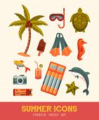 Summer And Sea Elements Isolated On Background. Summertime Collection Of Nautical And Swimming Icons poster
