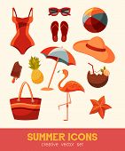 Summer And Sea Elements Isolated On Background. Summertime Collection Of Nautical Or Beach Icons For poster