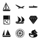 Material Wealth Icons Set. Simple Set Of 9 Material Wealth Vector Icons For Web Isolated On White Ba poster