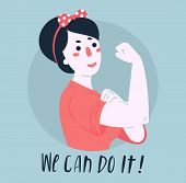 We Can Do It Poster. Strong Girl. Classical American Symbol Of Female Power, Woman Rights, Protest,  poster