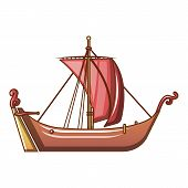 Pirate Ship Icon. Cartoon Illustration Of Pirate Ship Vector Icon For Web poster