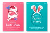 Easter Party Invitation Flyer Concept. Pink And Blue Easter Party Poster With Bunny Ears, Rabbits An poster