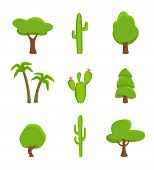 Green Plant Set Isolated On White Background Illustration. Desert Cactus, Tropical Palm, Forest Tree poster