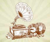 Vintage gramophone - original hand-drawn illustration