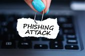 Phishing Attack Threat With Woman Hand Holding Fishing Hook Against Laptop Keyboard poster