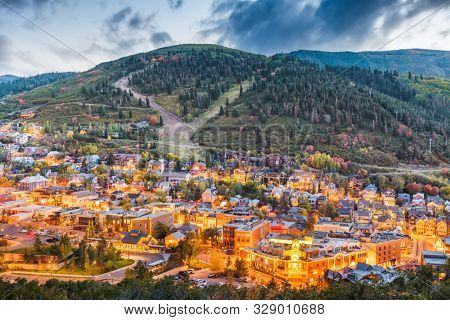 poster of Park City, Utah, USA downtown in autumn at dusk.