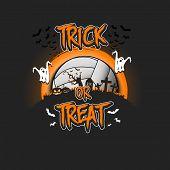 Halloween Pattern. Trick Or Treat. Volleyball Template Design. Volleyball Ball, Pumpkins, Spooky Tre poster
