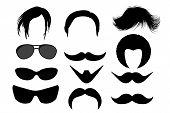 Set Mens Hairstyles, Beards , Mustaches And Glasses. Bearded Men With Different Beard, Mustache, Hai poster