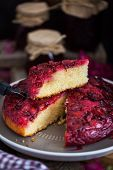 Fresh Homemade Upside-down Plum Cake poster