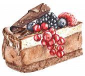 Hand Painted Watercolor Cake Illustration. Cake, Cupcake, Chocolate Cream Dessert, Cake With Chocola poster