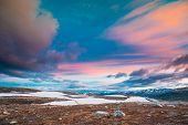 Aurlandsfjellet, Norway. Summer Norwegian Scenic Landscape Near Aurlandsfjellet Road. Scenic Route R poster