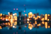 Oslo, Norway. Night Abstract Boke Bokeh Background Effect. Design Backdrop. Night View Embankment An poster