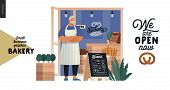 Bakery -small Business Illustrations -bakery Owner -modern Flat Vector Concept Illustration Of A Bak poster