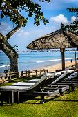 Poolside And Beach Side Lounge Chairs Ad Lounge Beds With Sun Umbrellas In A Tropical Climate poster