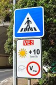 Road Signs In Portuguese Island Madeira. Blue Zebra Crossing Sign. White Speed Limit Sign. The Speed poster