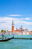 Grand Canal And Gondola, St Mark Church Tower And Bright Turquoise Water Of Canal In Venice, Italy.  poster