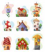 Fantasy House Set Vector Cartoon Fairy Treehouse And Housing Village Illustration Set Of Kids Fairyt poster