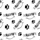 Seamless Pattern With Meow Lettering, Whiskers, Smile And Cat Paw Prints. Black Hand Drawings On Whi poster