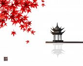 Red Japanese Maple Leaves And Pagoda Temlple Over The Water Surface. Traditional Japanese Ink Wash P poster