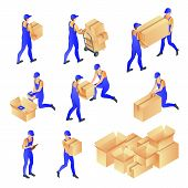 Men In Courier Uniforms Pack And Carry Cardboard Mail Boxes. Vector 3d Isometric Illustration. Peopl poster