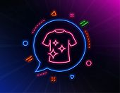 Clean T-shirt Line Icon. Neon Laser Lights. Laundry Shirt Sign. Clothing Cleaner Symbol. Glow Laser  poster