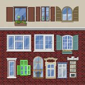 Window Vector Modern House View Glass Frame Arch Illustration Set Of Windowing Design Windowpane Arc poster