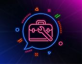 Spanner Tool Line Icon. Neon Laser Lights. Repair Tool Case Sign. Fix Instruments Symbol. Glow Laser poster