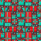 Seamless Pattern Different Gift Boxes In Vector. Gift In Flat Style. Collection For Christmas, Birth poster