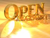 3D Open Account Gold Text