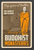 Vector Vintage Retro Poster Of Buddhist Monk And Buddha Temple Shrine, Meditation School And Dharma  poster